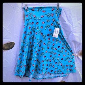 Lularoe azure lady bug skirt stretch aqua XS